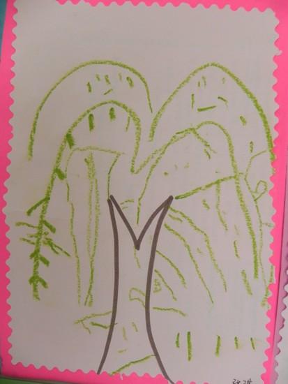 儿童画简单的柳树步骤