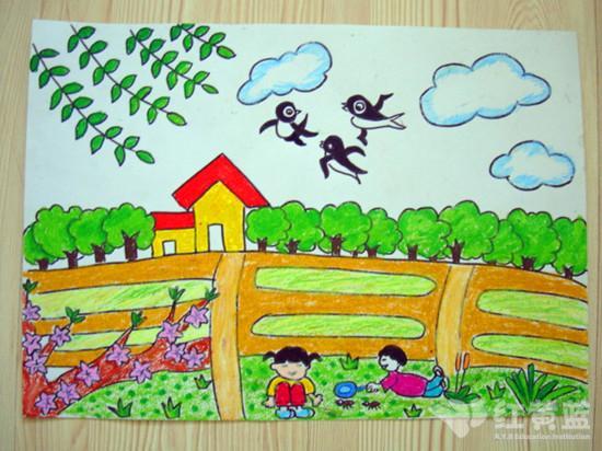 水彩笔风景画作品 水彩笔绘画作品图片 水彩笔美术作品 幼儿水彩笔绘