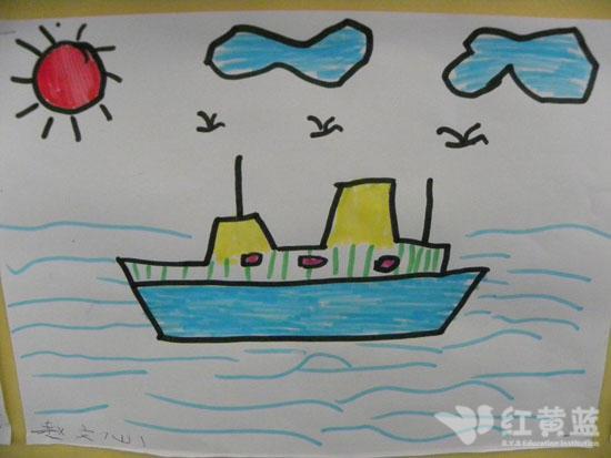 幼儿画画图片轮船