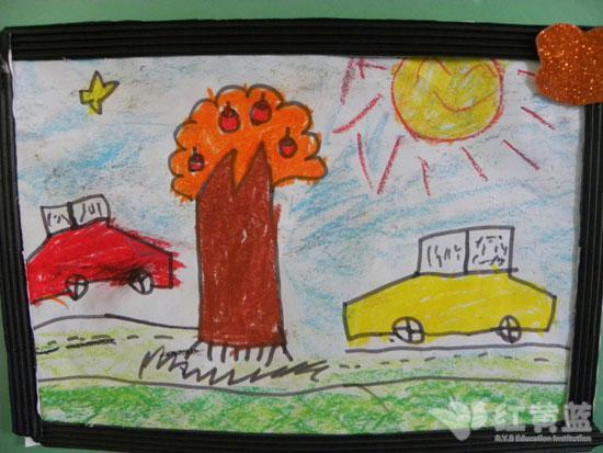兒童圖畫房子樹小路