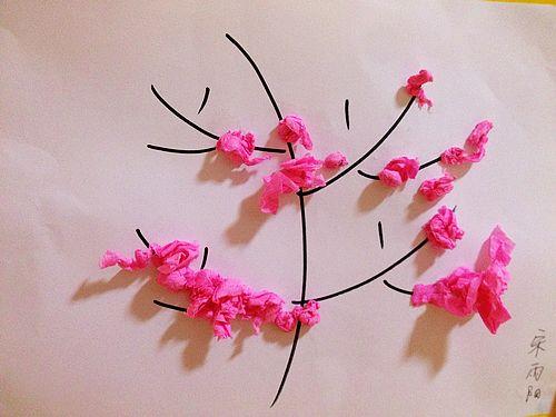 儿童水粉画桃花