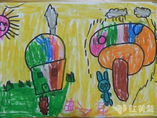 山树房子儿童画