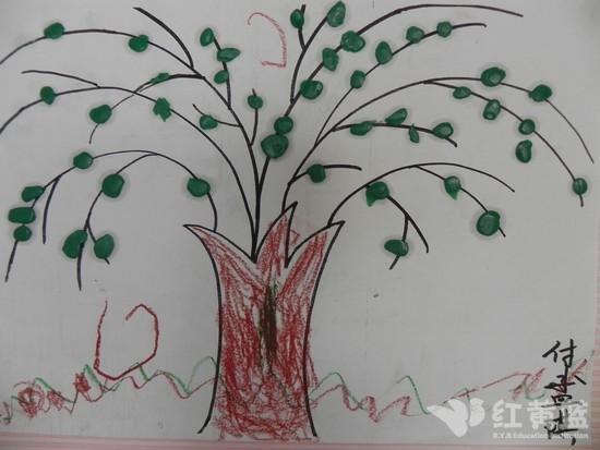 儿童画柳树的画法
