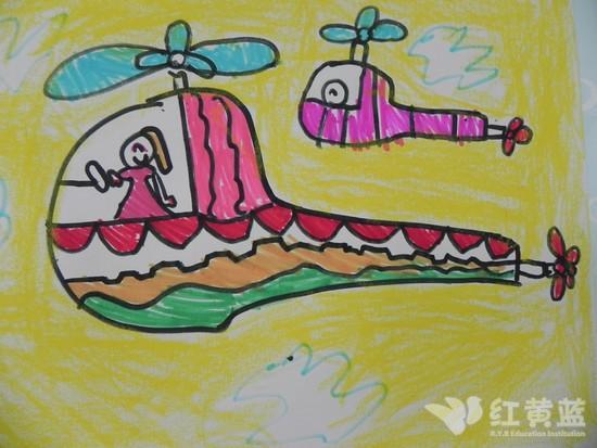 儿童简笔画直升飞机;