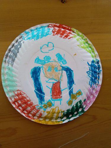 幼儿盘子动物画作品
