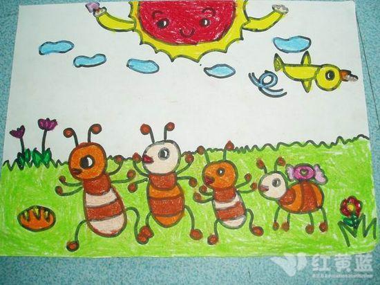 儿童画可爱的蚂蚁