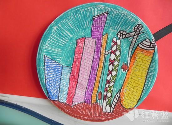 纸盘画——高楼