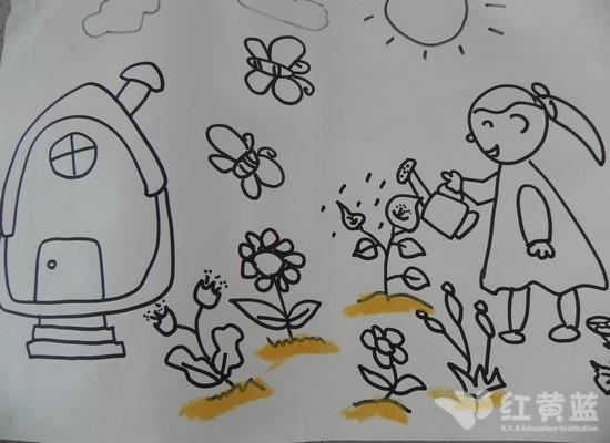 手绘浇花广告设计图