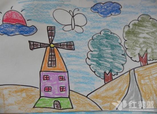 風車房子卡通畫