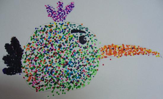 鸟巢简笔画彩色