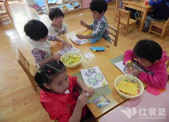 撕纸粘贴画 _ 红黄蓝|早教|早教中心