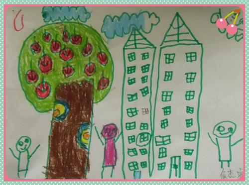 苹果树和房子 _ 红黄蓝|早教|早教中心