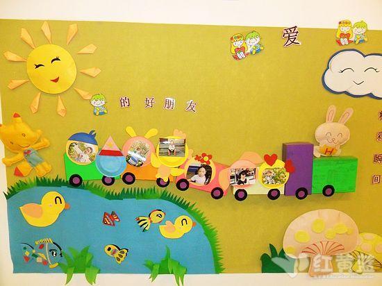 卡通墙纸动物小火车墙贴纸儿童睡房装饰贴图幼-幼儿园墙面设计小火
