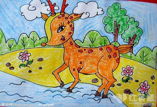 儿童画 小鹿