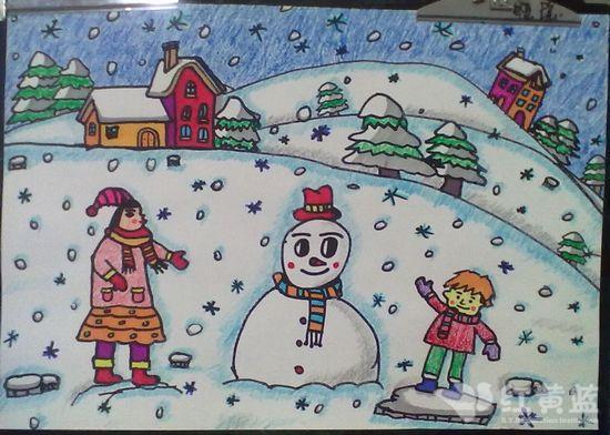 孩童画 冬令天