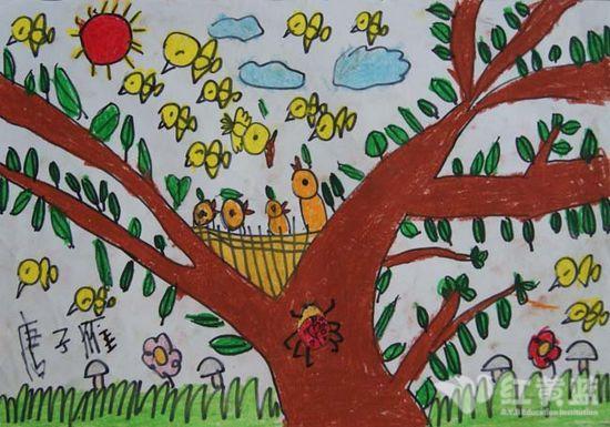 秋天的儿童画; 儿童画秋天丰收景色精彩作品欣赏