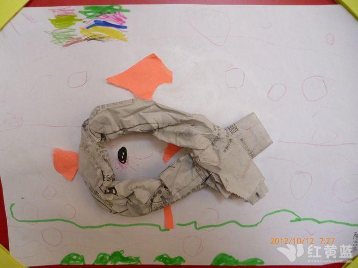 幼儿园手工制作鱼用报纸