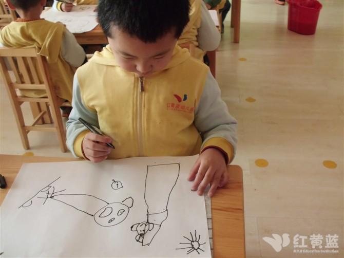 蓝二班的绘画—快乐一家人图片