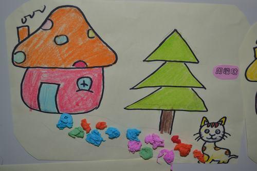 儿童图画房子树小路