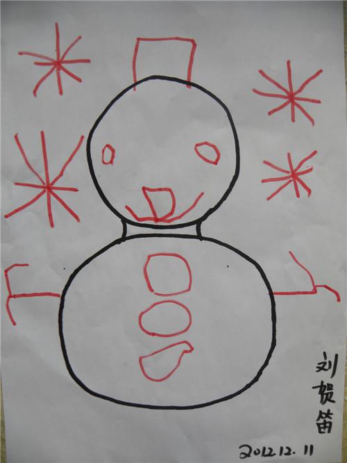 彩笔画,雪人