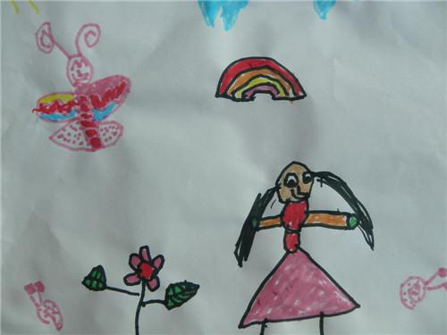 彩笔画,小女孩
