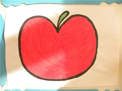 彩笔画,苹果1