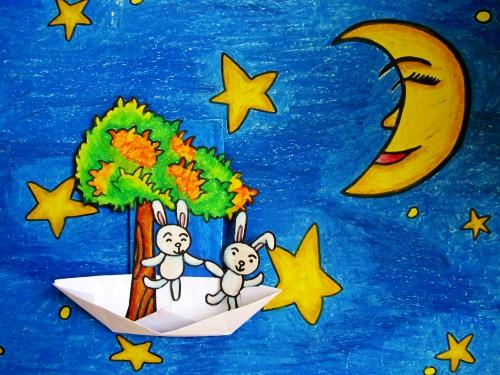 夜空画画儿童画蜡笔画简单又漂亮-夜空画画儿童画