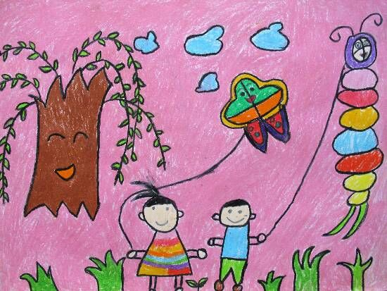 儿童画 放风筝 _ 红黄蓝|早教|早教中心