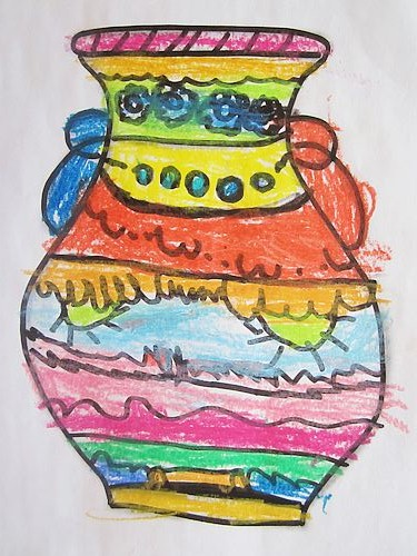 儿童水粉画作品:《微笑花瓶》_设计分享