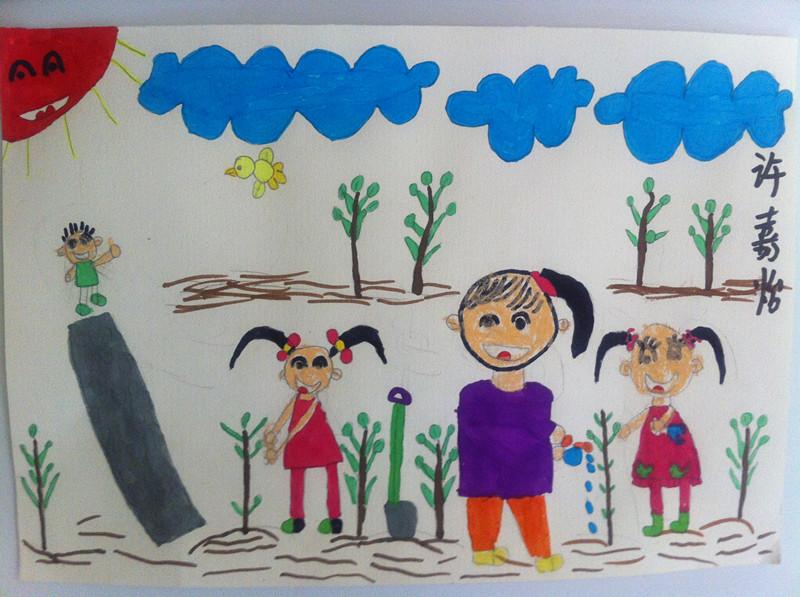 孩子们种树的儿童画