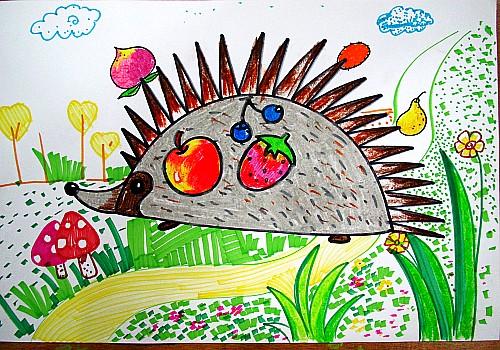 刺猬优秀儿童画