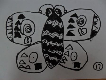 晨晨的线描画《美丽的蝴蝶》