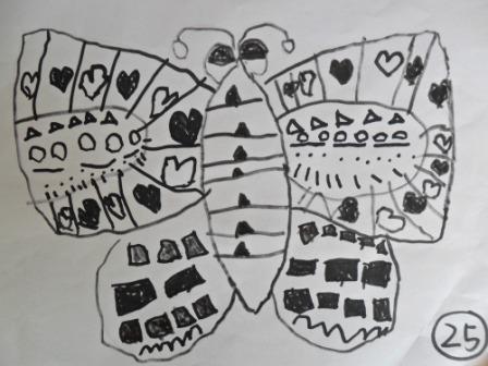 颢翔的线描画《美丽的蝴蝶》