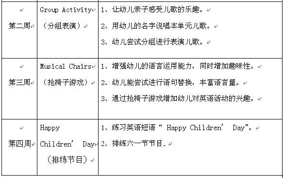 英语课程5月计划表