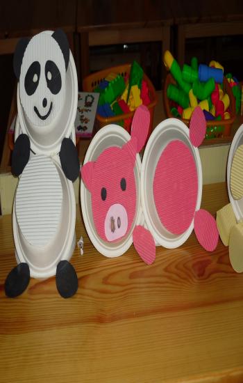 幼儿园手工画熊猫
