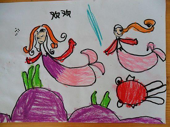 幼儿园美人鱼简笔画