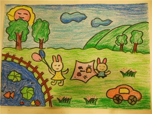 公园木棉花儿童画