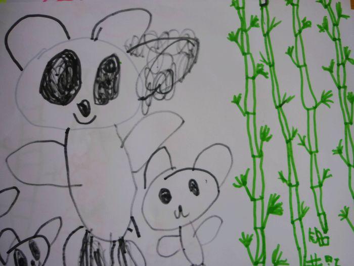 绘画:熊猫吃竹子