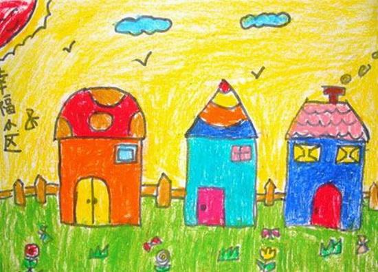 幼儿画的房子和树
