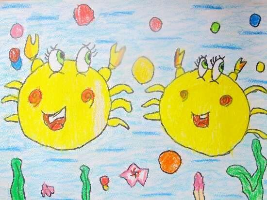 中国 作品 螃蟹/儿童画—可爱的螃蟹