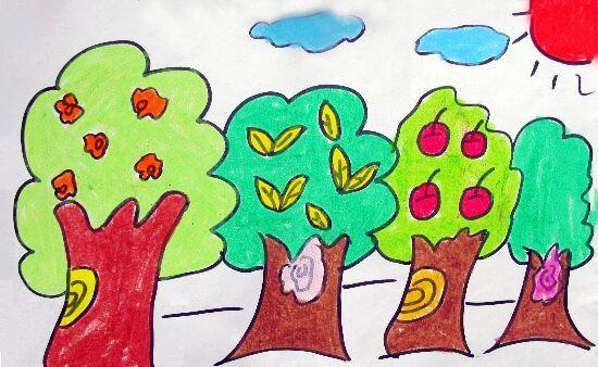 幼儿画大树动物的画