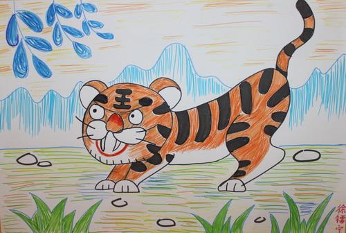 可爱的老虎儿童画