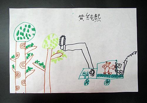 幼儿线描画树木图片