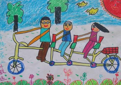 儿童画幸福一家人