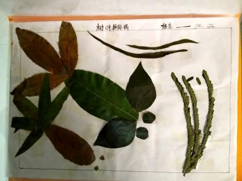 树叶拼贴画 _ 红黄蓝|早教|早教中心
