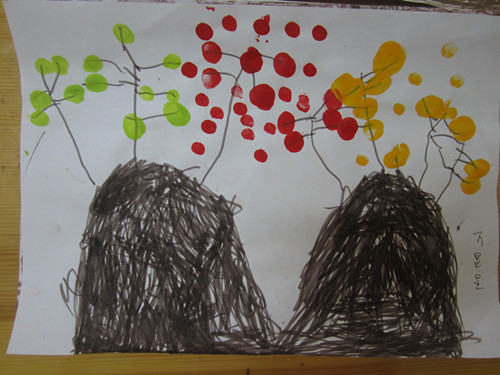 手指点画:秋天的树