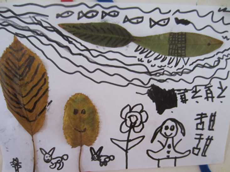 美丽的叶子儿童画