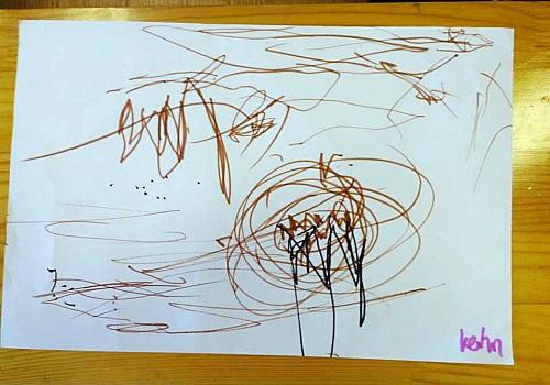 当:我画了一个地球.-线描画 粉一班