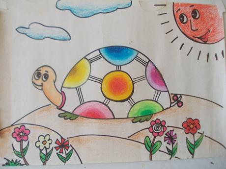 可爱的乌龟儿童画