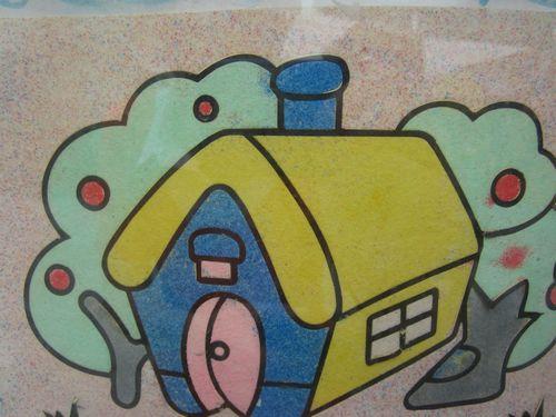 沙画图片木头房子